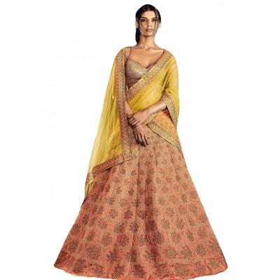NAINA Peach Jaipuri Silk Embroidered Semi-Stitched Lehenga Choli