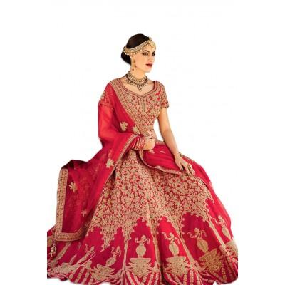 NAINA Maroon Mastani Silk Embroidered Semi-Stitched Lehenga Choli