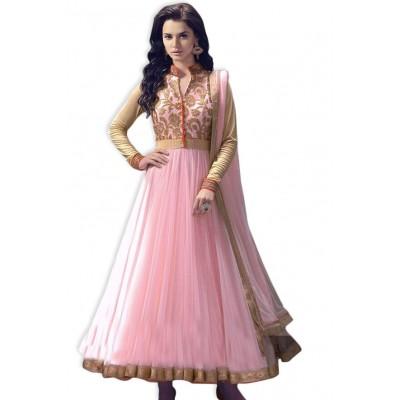 NAINA Pink Net Embroidered Semi -Stitched Anarkali Dress Material