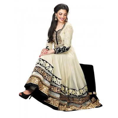 NAINA Off White Georgette Embroidered Semi -Stitched Anarkali Dress Material