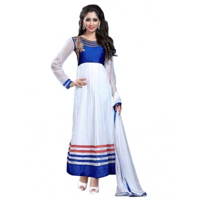 NAINA White Net Embellished Semi-Stitched Dress Material