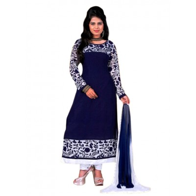 NAINA Navy Blue Georgette Semi-Stitched Dress Material