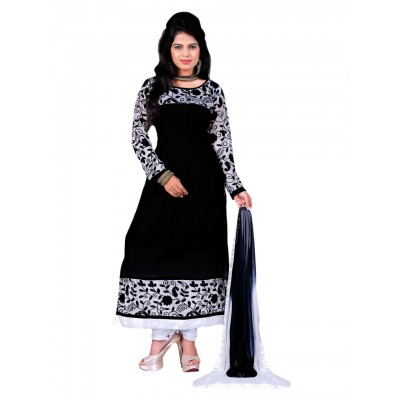 NAINA Black & White Georgette Semi-Stitched Dress Material
