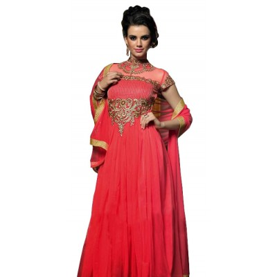 NAINA Red Net Semi-Stitched Dress Material