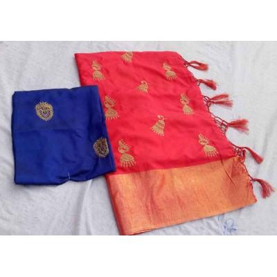 RS Fashions Red Silk Saree
