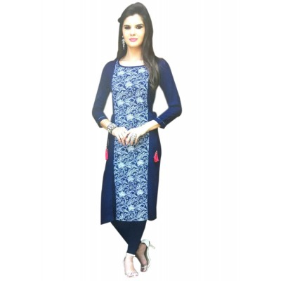 RS Fashions Navy Blue Cotton Solid Straight Kurta