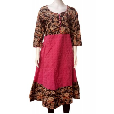 RS Fashions Rose Cotton Kalamkari Flared Kurta