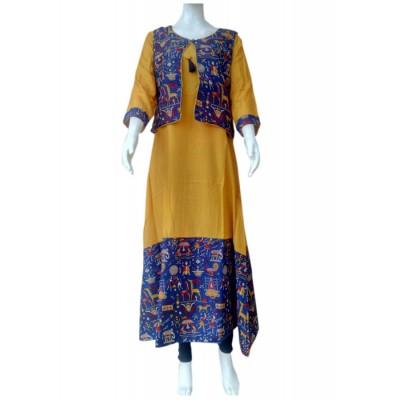 RS Fashions Mustard Rayon Kalamkari Straight Kurta