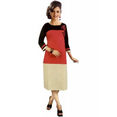 RS Fashions Maroon Cotton Solid Straight Kurta