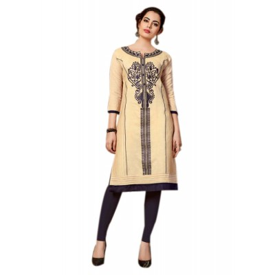 RS Fashions Cream Chanderi Embroidered Straight Kurta