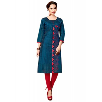 RS Fashions Navy Blue Chanderi Embroidered Straight Kurta