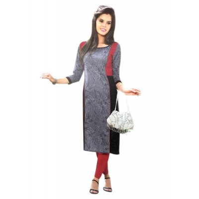 RS Fashions Ash Cotton Solid Straight Kurta
