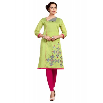 RS Fashions Green Chanderi Embroidered Straight Kurta