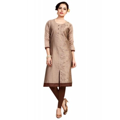 RS Fashions Brown Chanderi Embroidered Straight Kurta