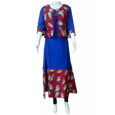 RS Fashions Blue Rayon Kalamkari Straight Kurta