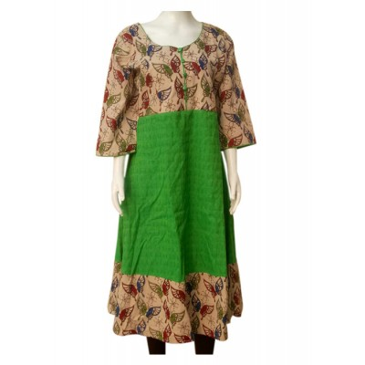 RS Fashions Green Cotton Kalamkari Flared Kurta