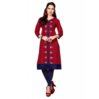 RS Fashions Maroon Chanderi Embroidered Straight Kurta