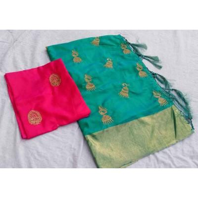 RS Fashions Sea Green Silk Saree