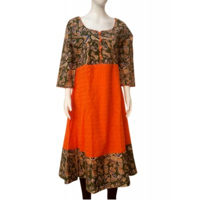 RS Fashions Orange Cotton Kalamkari Flared Kurta
