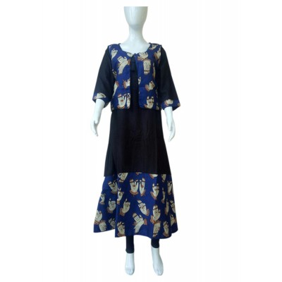 RS Fashions Black Rayon Kalamkari Straight Kurta