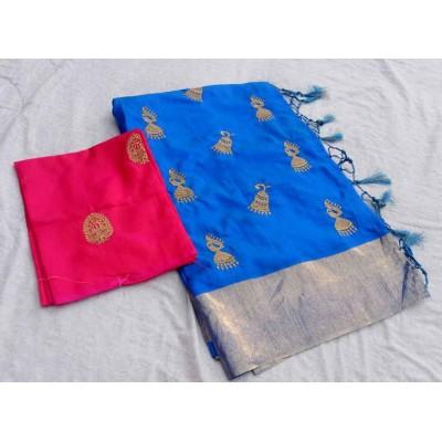 RS Fashions Blue Silk Saree