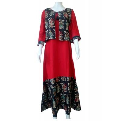 RS Fashions Red Rayon Kalamkari Straight Kurta