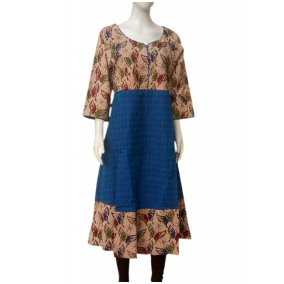 RS Fashions Blue Cotton Kalamkari Flared Kurta