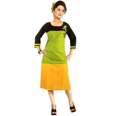 RS Fashions Green Cotton Solid Straight Kurta