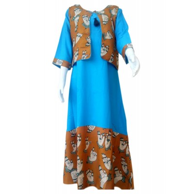 RS Fashions Sky Blue Rayon Kalamkari Straight Kurta