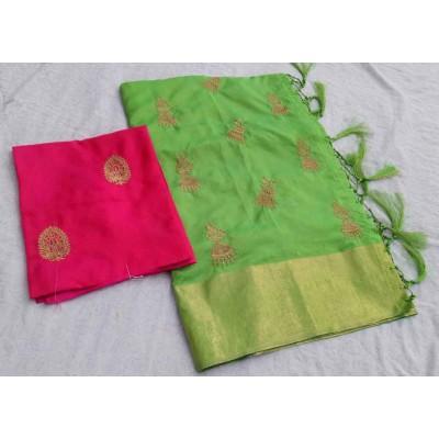 RS Fashions Light Green Silk Saree