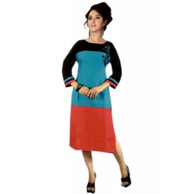 RS Fashions Black Cotton Solid Straight Kurta