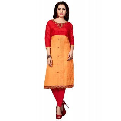 RS Fashions Orange & Red Chanderi Embroidered Straight Kurta