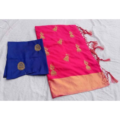RS Fashions Pink Silk Saree