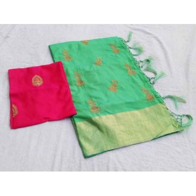 RS Fashions Pista Green Silk Saree