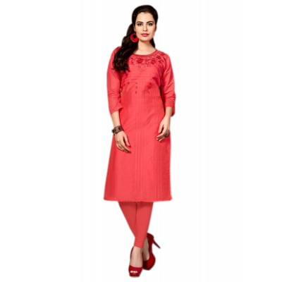 RS Fashions Peach Chanderi Embroidered Straight Kurta