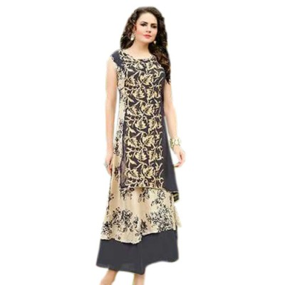 RS Fashions Ash Cotton Printed Flared Kurta