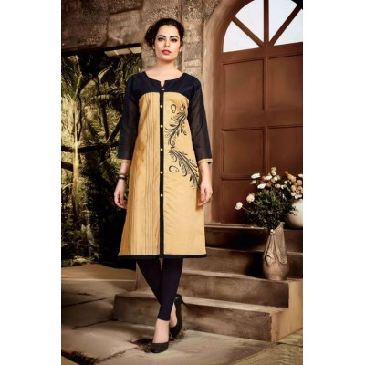 RS Fashions Beige Chanderi Embroidered Straight Kurta