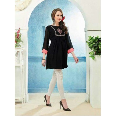 RS Fashions Black Georgette Solid Regular Top