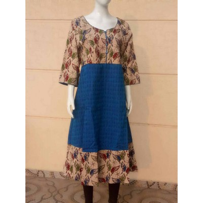 RS Fashions Blue Cotton Kalamkari Flared Kurta
