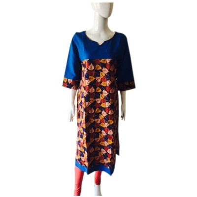 RS Fashions Blue Cotton Kalamkari Straight Kurta