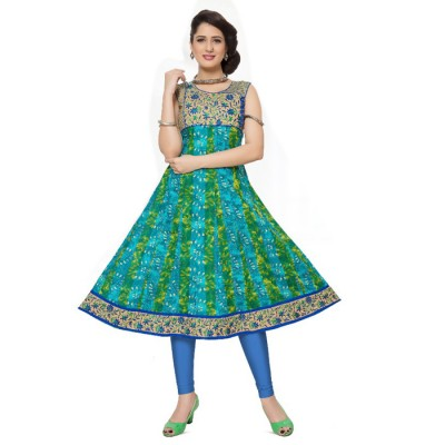 RS Fashions Blue Cotton Printed Anarkali Kurta