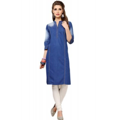 RS Fashions Blue Denim Straight Kurta
