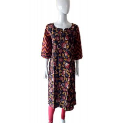 RS Fashions Brown Cotton Kalamkari Straight Kurta