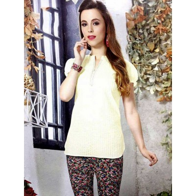 RS Fashions Cream Cotton Solid Regular Top