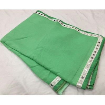 RS Fashions Green Chiffon Mirror worked Saree