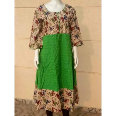 RS Fashions Green Cotton Kalamkari Flared Kurta