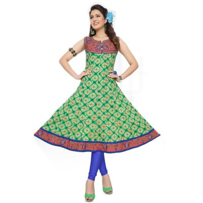 RS Fashions Green Cotton Printed Anarkali Kurta
