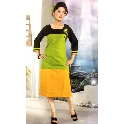 RS Fashions Green Cotton Solid Straight Kurta