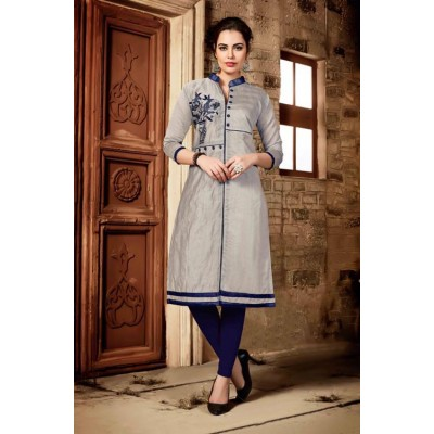 RS Fashions Grey Chanderi Embroidered Straight Kurta