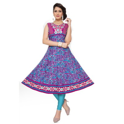 RS Fashions Magenta Cotton Printed Anarkali Kurta